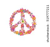 hippie print with peace flower... | Shutterstock . vector #519777211