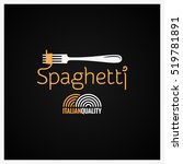 spaghetti pasta on fork label... | Shutterstock .eps vector #519781891