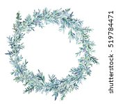 watercolor winter floral wreath.... | Shutterstock . vector #519784471