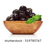 Black Olives In Wooden Bowl...