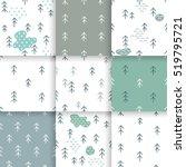scandinavian pattern with fir... | Shutterstock .eps vector #519795721