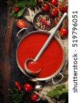 homemade tomato soup on wooden... | Shutterstock . vector #519796051