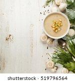 creamy mushroom soup on white...   Shutterstock . vector #519796564