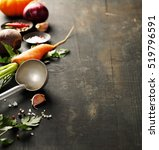 vegetables on wood. bio healthy ... | Shutterstock . vector #519796591