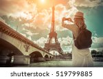 Woman Tourist Selfie Near Eiffel - Fine Art prints
