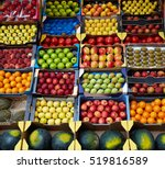 fruits background in boxes... | Shutterstock . vector #519816589