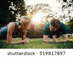 caucasian couple doing core... | Shutterstock . vector #519817897