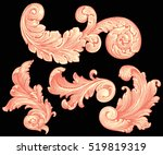 victorian baroque floral... | Shutterstock .eps vector #519819319