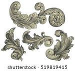 victorian baroque floral... | Shutterstock .eps vector #519819415