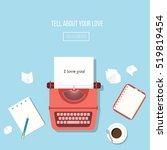 the illustration of typewriter. ... | Shutterstock .eps vector #519819454