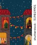 christmas eve celebration in...   Shutterstock .eps vector #519819901