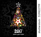 2017 happy new year greeting... | Shutterstock .eps vector #519822799