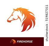 Stock vector horse head illustration with a mane looking like a fire flame speed freedom and strength symbol 519827311