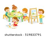 children drawing in art class | Shutterstock .eps vector #519833791