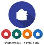 Round Icon Of Fist. Flat Style...
