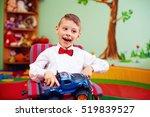 cute happy kid on wheelchair... | Shutterstock . vector #519839527