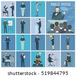 public speaking to live... | Shutterstock . vector #519844795