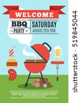 bbq poster with grill and... | Shutterstock . vector #519845044