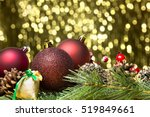 merry christmas card with... | Shutterstock . vector #519849661