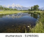 Teton Range Reflected In Snake...