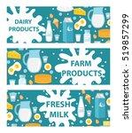 dairy banner. flat style. milk... | Shutterstock .eps vector #519857299