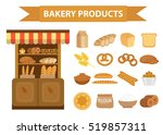 bakery products icon set  flat... | Shutterstock .eps vector #519857311
