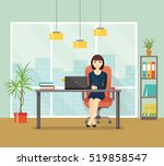 office workplace with table ... | Shutterstock .eps vector #519858547