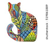 Stylized Colorful Doodle Cat....