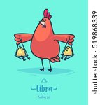zodiac sign libra. rooster and... | Shutterstock .eps vector #519868339