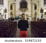 Woman Standing Church Religion...
