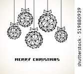 christmas ball with bow of... | Shutterstock . vector #519880939