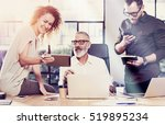 young team of coworkers found a ... | Shutterstock . vector #519895234