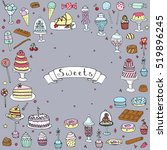 hand drawn doodle sweets set.... | Shutterstock .eps vector #519896245