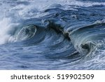 A Beautiful Blue Ocean Wave At...