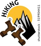 flat emblem of hiking with...   Shutterstock .eps vector #519904411