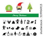 vector merry christmas icons... | Shutterstock .eps vector #519904915