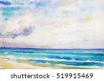 watercolor seascape  original ...   Shutterstock . vector #519915469