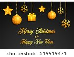 golden christmas greeting card | Shutterstock .eps vector #519919471