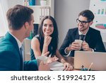 cheerful office workers ... | Shutterstock . vector #519924175
