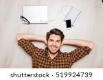 top view of cheerful handsome... | Shutterstock . vector #519924739