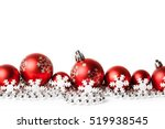 red christmas balls on white.... | Shutterstock . vector #519938545
