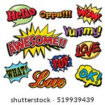 pop art patches set with... | Shutterstock .eps vector #519939439