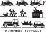 flood and evacuate icon set | Shutterstock .eps vector #519943375
