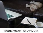 laptop notebook and coffee cup... | Shutterstock . vector #519947911