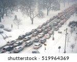 traffic jam in a snow storm | Shutterstock . vector #519964369