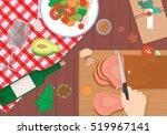 christmas dinner on wood table... | Shutterstock .eps vector #519967141