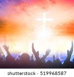 cross on blurry sunset... | Shutterstock . vector #519968587