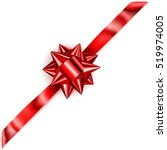 beautiful red shiny bow with... | Shutterstock . vector #519974005