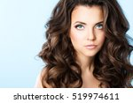 beautiful girl with hairstyle... | Shutterstock . vector #519974611