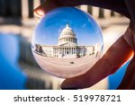 Stock photo washington dc capitol building through glass sphere perpsective 519978721